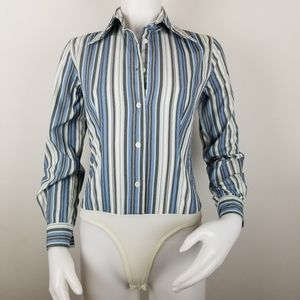 Body by Victoria XS Button Front Shirt Bodysuit